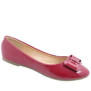 City Style Ladies Patent Pump With Bow Burgundy