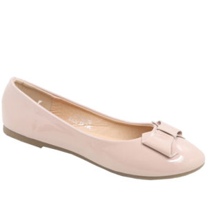 City Style Ladies Patent Pump With Bow Nude