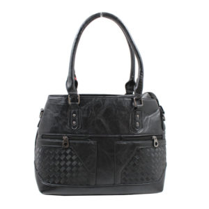 Blackcherry Black Tote Bag with Zipped Detailing