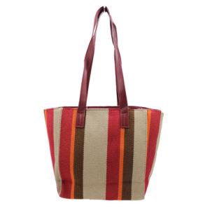 BLACKCHERRY RED DUAL FABRIC TRAPEZE SHAPE TOTE BAG