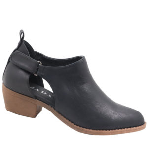Jada Ladies Open Side Ankle Boot With Velcro Strap Black