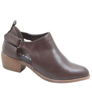Jada Ladies Open Side Ankle Boot With Velcro Strap Choc