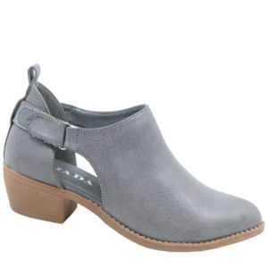 Jada Ladies Open Side Ankle Boot With Velcro Strap Grey