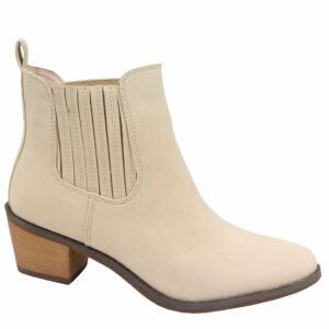 Jada Ladies Nubuck Gusset Ankle Boot Stone