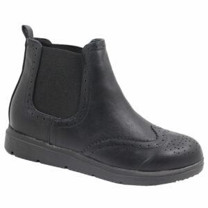 Jada Ladies PU Flat Form Ankle Boot Black