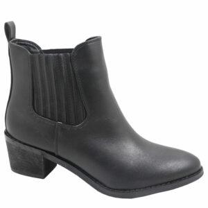 Jada Ladies Side Gusset Leather Look Ankle Boot Black