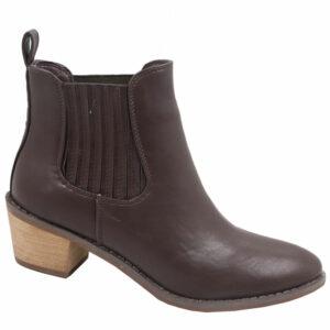 Jada Ladies Side Gusset Leather Look Ankle Boot Mid Brown