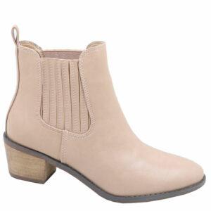 Jada Ladies Side Gusset Leather Look Ankle Boot Hazelnut