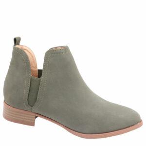 Jada Ladies Side Gusset Nubuck Ankle Boot Olive