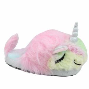 Hugs&Kisses Kids Fluffy Unicorn Slipper Blue/Pink