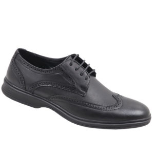 City Style Mens Lace Up With Pattern Detail Shoe Black