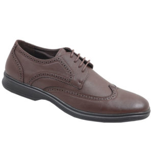 City Style Mens Lace Up With Pattern Detail Shoe Brown