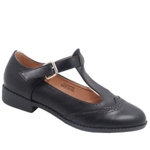 Jada Ladies T-Bar Leather Look Pump Black