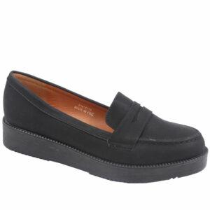 Jada Ladies Slip In Nubuck Flat Form Shoe Black