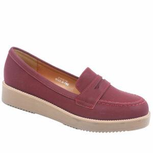 Jada Ladies Slip In Nubuck Flat Form Shoe Burgundy