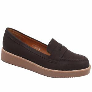 Jada Ladies Slip In Nubuck Flat Form Shoe Choc