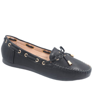 Spoiler Ladies Bow Detail Mocassin Black