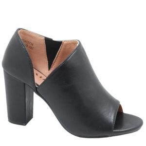Jada Ladies PU Open Toe Heel With Elastic Detail Black