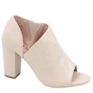 Jada Ladies PU Open Toe Heel With Elastic Detail Nude
