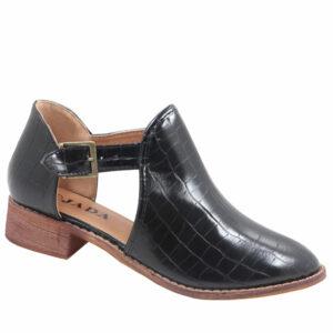 Jada Ladies Side Buckle Croc Ankle Boot Black