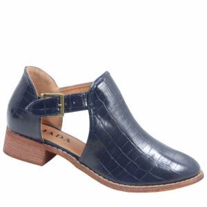 Jada Ladies Side Buckle Croc Ankle Boot Navy