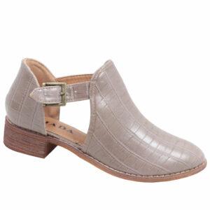 Jada Ladies Side Buckle Croc Ankle Boot Taupe