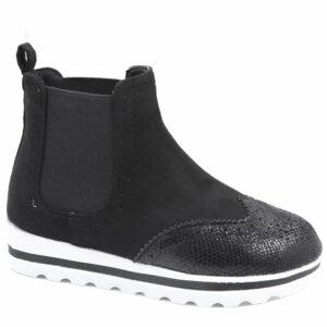 Jada Kiddies Pu Flat Form Ankle Boot Black
