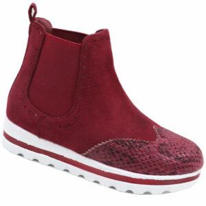 Jada Kiddies Pu Flat Form Ankle Boot Burgundy