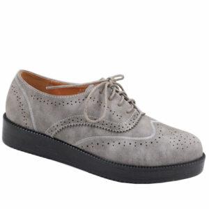Jada Ladies Lace Up Flat Form Nubuck Mocassin Grey