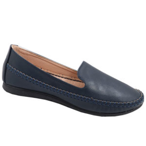 Spoiler Ladies PU Comfort Pump With Pattern Detail Navy