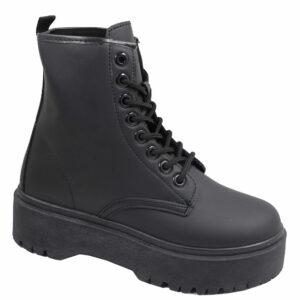 Jada Ladies Stassi Leather Look Lace-Up Boot Black