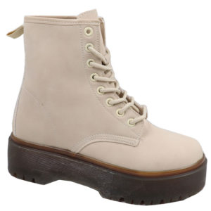 Jada Ladies Stassi Leather Look Lace-Up Boot Neutral