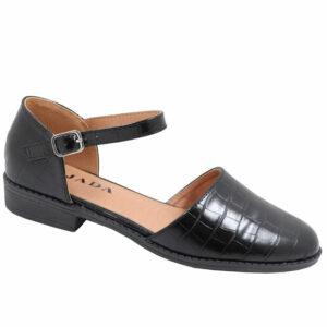 Jada Ladies Croc Styled Ankle Tie Pump Black