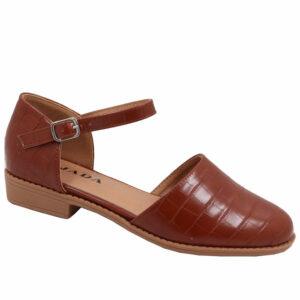 Jada Ladies Croc Styled Ankle Tie Pump Mid Brown