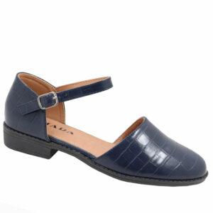 Jada Ladies Croc Styled Ankle Tie Pump Indigo