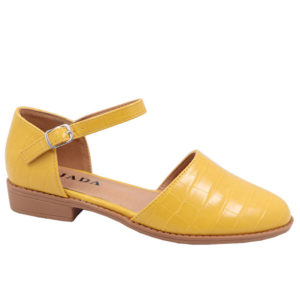 Jada Ladies Croc Styled Ankle Tie Pump Mustard