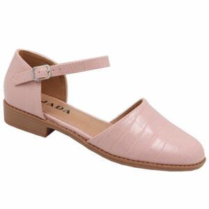 Jada Ladies Croc Styled Ankle Tie Pump Pink