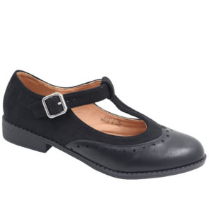 Jada Ladies Combo T Bar Pump With Ankle Strap Black