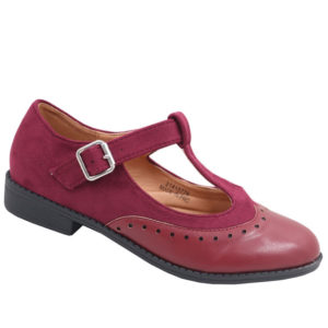 Jada Ladies Combo T Bar Pump With Ankle Strap Burgundy