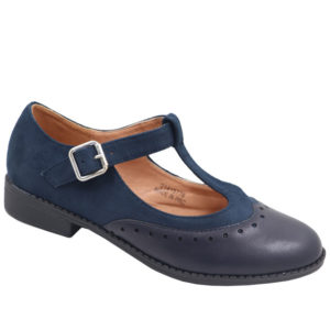 Jada Ladies Combo T Bar Pump With Ankle Strap Navy
