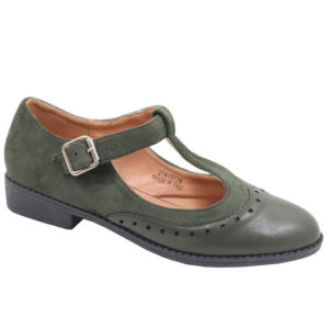 Jada Ladies Combo T Bar Pump With Ankle Strap Olive