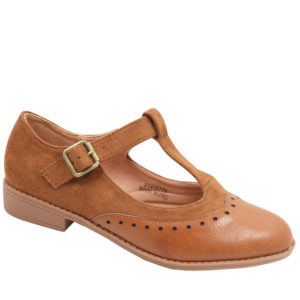 Jada Ladies Combo T Bar Pump With Ankle Strap Tan