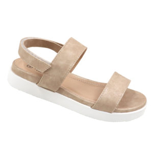 Spoiler Ladies Open Back Sandal With Velcro Strap Beige