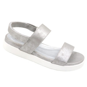 Spoiler Ladies Open Back Sandal With Velcro Strap Light Grey