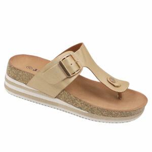 Jada Ladies Slip-In Thong Mule With Buckle Detail Gold