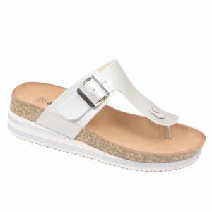 Jada Ladies Slip-In Thong Mule With Buckle Detail Silver