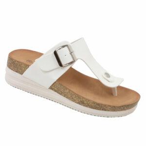 Jada Ladies Slip-In Thong Mule With Buckle Detail White