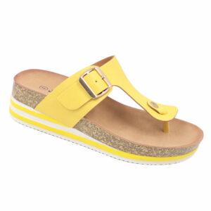 Jada Ladies Slip-In Thong Mule With Buckle Detail Yellow