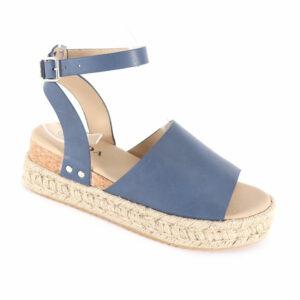Jada Ladies Nubuck Espadrille Sandal with Ankle Strap Indigo