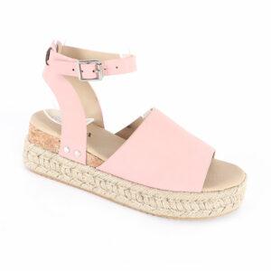 Jada Ladies Nubuck Espadrille Sandal with Ankle Strap Pink